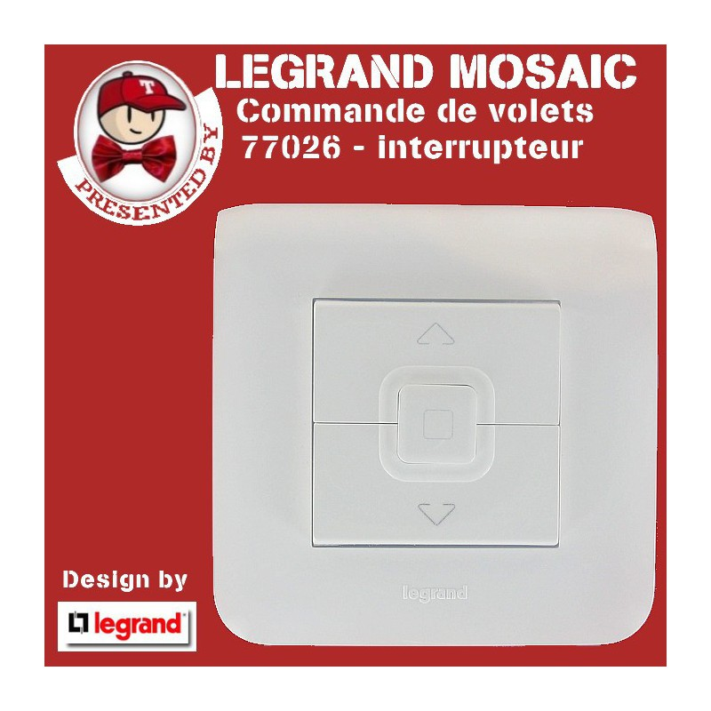 interrupteur de commande volets roulants mosaic vente mosaic complet en ligne legrand. Black Bedroom Furniture Sets. Home Design Ideas