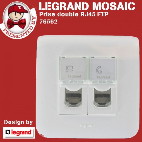 prise communication rj45 ftp double cat gorie 6 vente mosaic complet en ligne legrand. Black Bedroom Furniture Sets. Home Design Ideas