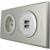 Prise de courant + chargeur double USB Nickel velours
