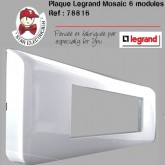 Plaque Mosaic 6 modules 3 postes blanche horizontale
