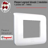 Plaque Mosaic 2 modules 1 poste blanc