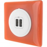 Chargeur USB double Céliane memorie Orange