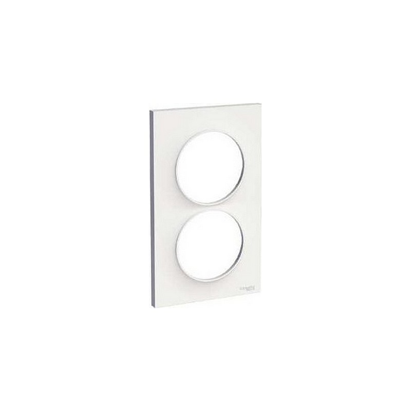 Plaque Odale Styl 2 postes verticale blanche entraxe 57 mm