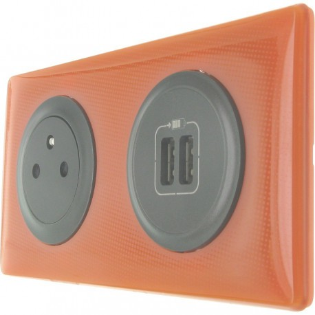 prise de courant surface avec chargeur usb c liane orange 70 39 vente plaques c liane memories. Black Bedroom Furniture Sets. Home Design Ideas