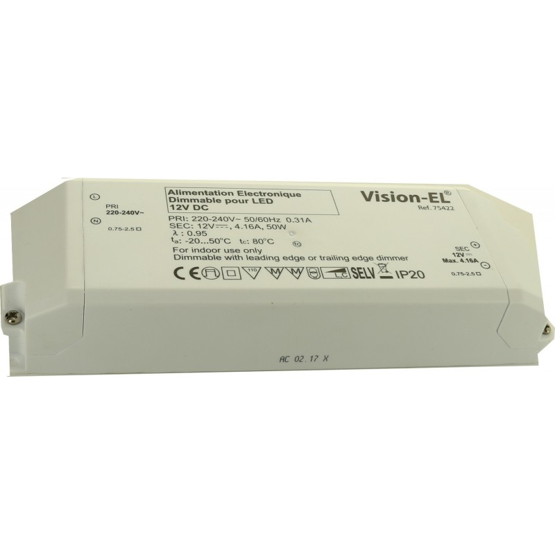 Alimentation dimmable pour leds - 12V 50W coupure de phase