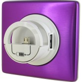 Enjoliveur blanc avec chargeur USB version Dock violet irisé