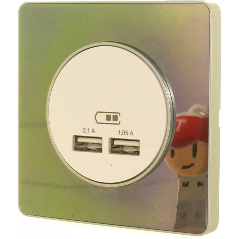 Chargeur double USB 2.1 Odace - white & wood