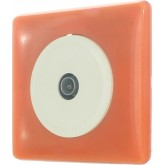 Prise TV 9.52mm en base blanche sur finition Orange 70's