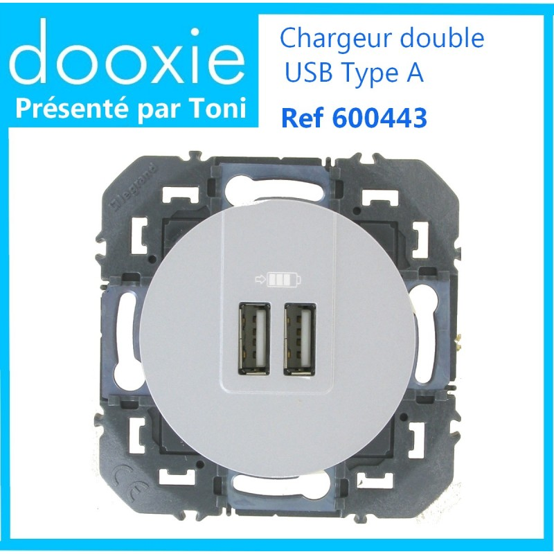 Double chargeur USB type A 3A Dooxie en base Alu
