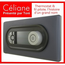 Thermostat programmable Céliane en base graphite sur finition Schiste
