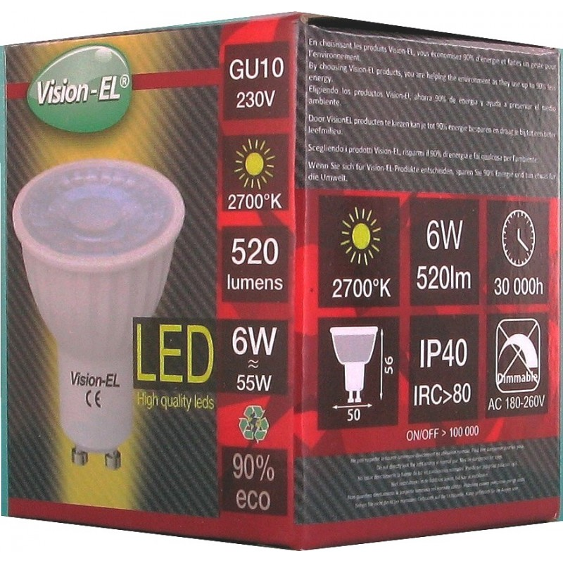 Ampoule led 6W blanc chaud 2700° non dimmable