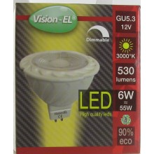 Ampoule leds GU5.3 12V 6W blanc chaud 3000° dimmable